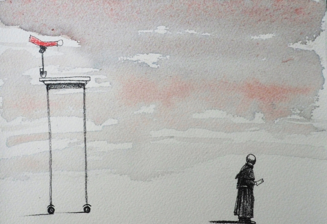 CROSSING THE FLAG, watercolor on paper, 20 x 10 cm, 2017