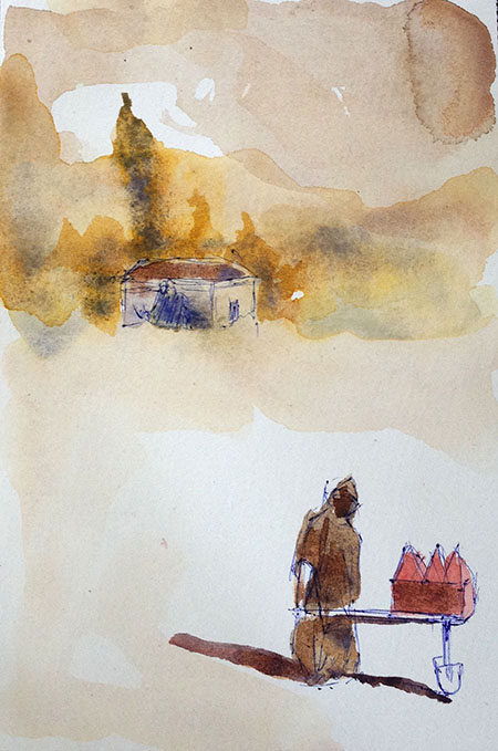 The castle, 2020, tempera on paper, 30 x 21 cm