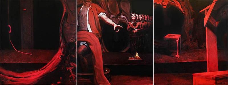 INSIDE SENECA, 2019, oil on canvas,  130 x 330 cm