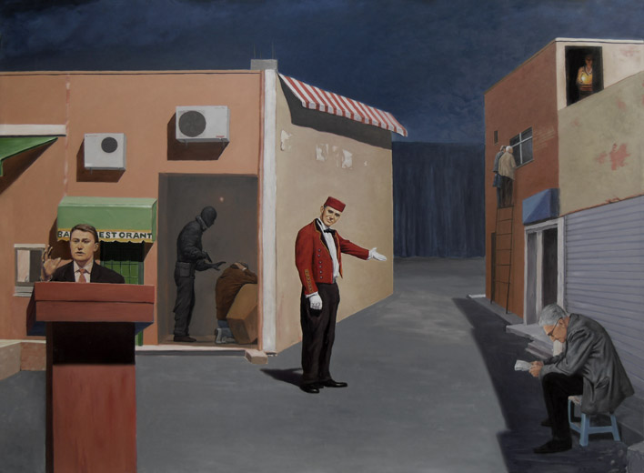 ORDINARY MEAL, 2008, oil on canvas, 230 x 160 cm