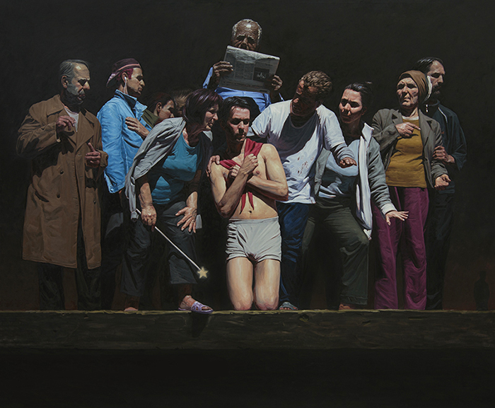 VISIT IN THE WOUND, 2013, oil in canvas, 250 x 190 cm