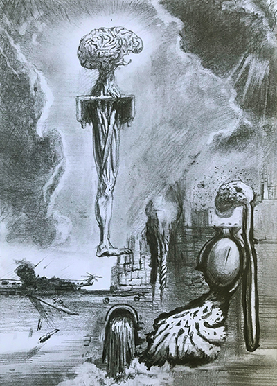 CEREBRAL RUINS, 21 X 15 cm, pencil on paper, 2020