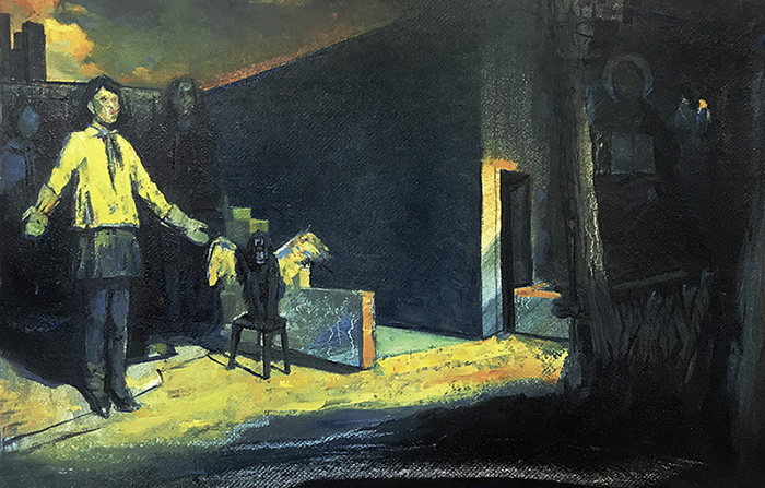 THE DESIRE OF HUMAN DOG, 2020, oil on canvas, 50 x 25 cm